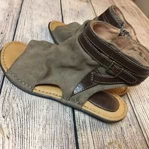 BORN B.O.C. Taupe Faux Suede Open Toe Ankle Boots